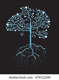 Abstract tree, concept vector futuristic blue virtual graphic