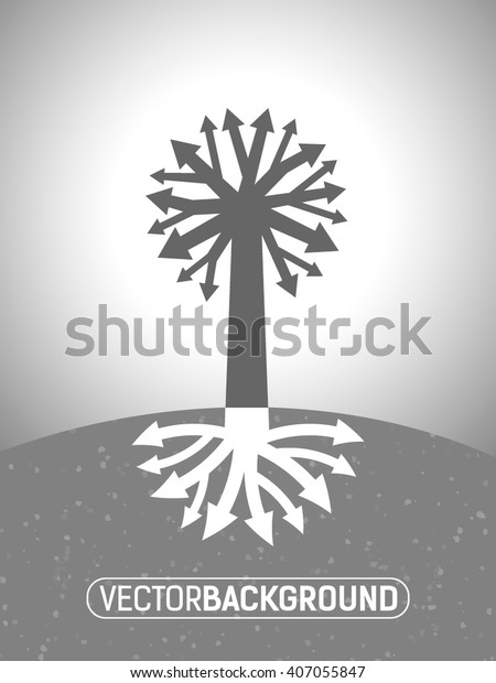 abstract tree diagram with the branches of the roots in the form of arrows