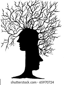 abstract tree of heads vector illustration