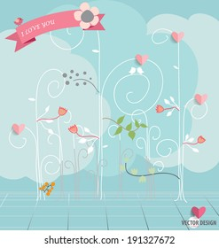 Abstract tree with hearts and flowers. Vector Illustration.