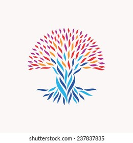 Abstract tree illustration. Concepts for unity, community, team work, diversity ethnic and social issues. EPS10 vector file organized in layers for easy editing.