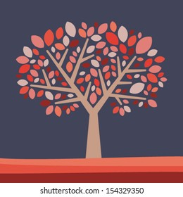 Abstract tree illustration - old style Vector background