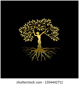 Abstract tree logo design, with human tree and gold color