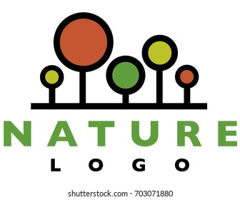 Abstract tree logo in green, red and gold.