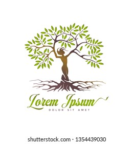 abstract tree logo, a woman strung with a tree with silhouette style. a type of classic logo that is durable and elegant.