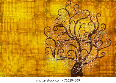 Abstract tree on a gold background. Abstract background in style of Gustav Klimt painting.