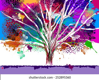 Abstract tree with paint spots and butterflies. Vector