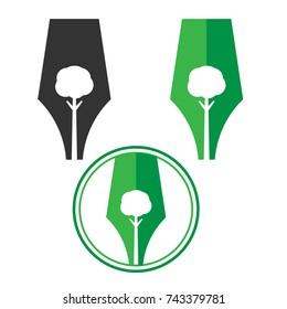 Abstract tree and pen logo set, Pen logo in round frame-Vector logo design