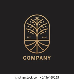 Abstract tree with root icon vector logo template, elegant and luxury concept vector illustration