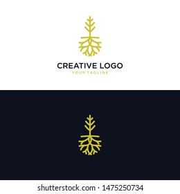 abstract tree and root logos. exclusive root logo. root and house logo. tree logo and root logo emblem - Vector
