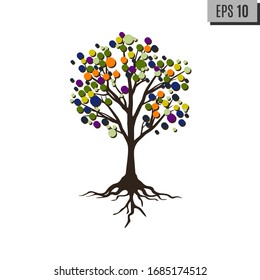 Abstract tree with roots and colorful round leaves. Isolated on white background. Flat style, vector illustration.