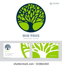 Abstract Tree sign & business card vector template. Vector icon & corporate identity template for landscape design / architecture, natural organic product line labeling, recycle, garden. Editable.