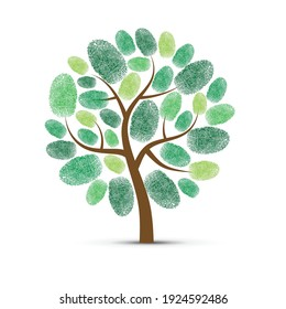 Abstract tree silhouette with different fingerprints leaves isolated on white background