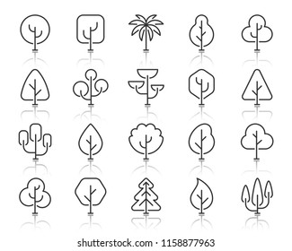 Abstract Tree thin line icons set. Outline sign kit of nature forest. Geometric Plant linear icons of sapling garden, oak, palm. Simple abstract tree black symbol with reflection. Vector Illustration