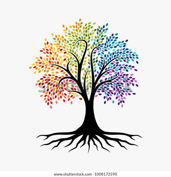 Abstract Tree, vibrant tree logo, owl tree logo design illustration isolated on white background