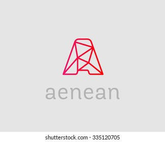 Abstract trend letter A logo design template. Colorful structure creative sign. Communication vector symbol icon.