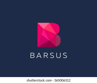 Abstract trend polygon letter B logo design template. Art tech media app creative sign. Colorful vector symbol icon. Bright alphabet font.