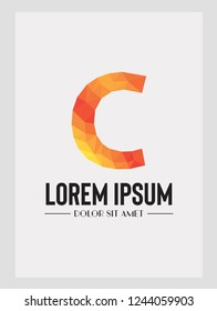 Abstract trend polygon letter C logo design template. Art tech media app creative sign. Bright alphabet font. Colorful vector symbol icon.