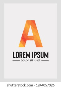 Abstract trend polygon letter A logo design template. Art tech media app creative sign. Bright alphabet font. Colorful vector symbol icon.