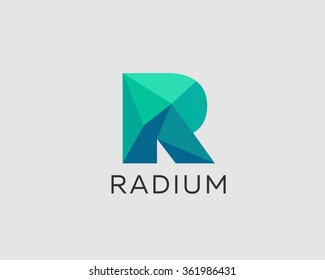 Abstract trend polygon letter R logo design template. Art tech media app creative sign. Colorful vector symbol icon. Bright alphabet font.