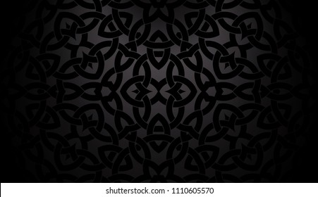 Abstract trendy black background with celtic decorative pattern