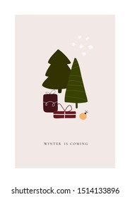 Abstract trendy christmas new year winter holiday card with xmas tree gifts balls snowflakes. Vector illustration in minimalistic hand drawn style