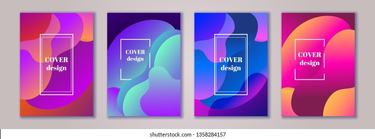 Abstract trendy fluid wavy neon background set. Red, cyan, blue, orange, dark colors. Modern 3d style. Applicable for cover, brochure, flyer, invitation template design. Vector illustration, Eps10.