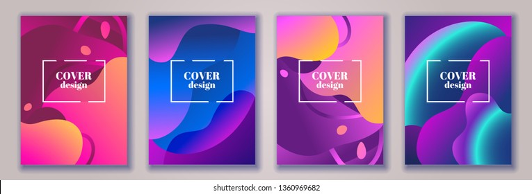 Abstract trendy fluid wavy neon background. Red, cyan, violet, orange, pink, dark colors, gradient. Modern 3d style. Applicable for cover, brochure, flyer, template design. Vector illustration, Eps10.