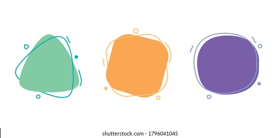 Abstract Trendy Geometric Shapes, Smooth Round Bubble Forms, Vector Illustration Background
