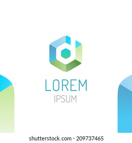 Abstract trendy hex logo design template with d letter