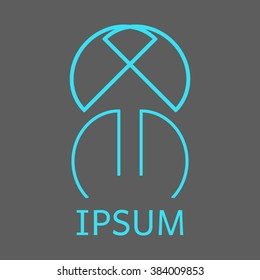 Abstract trendy logo with overlap and cross. Vector, illustration