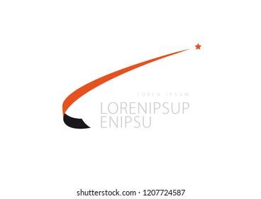 Abstract Trendy Star Swoosh-logo design