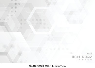 Abstract trendy technology of gradient white and gray hexagonal element pattern artwork design background. Use for ad, poster, presentation, print, artwork. illustration vector eps10