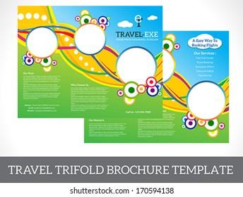 abstract tri fold brochure vector illustration