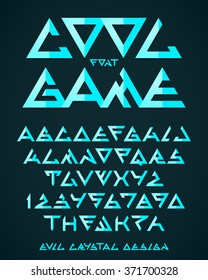 Abstract triangle alien font, vector alphabet