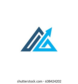 abstract triangle with arrow up logo