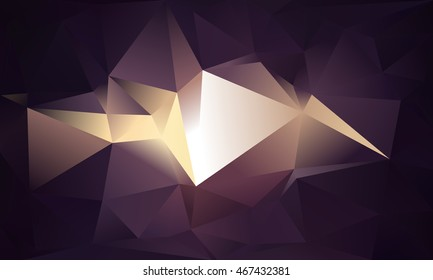Abstract triangle background. Deep purple and gold. 10 EPS