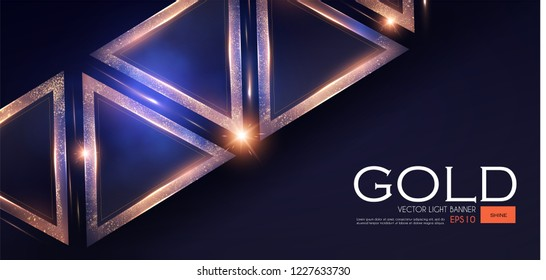 Abstract Triangle Background with Gold Glitter Effect. Vector illusratration