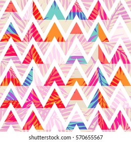 Abstract triangle background with summer exotic tropical palm leaves. Vector abstract seamless pattern. Plant flower nature wallpaper