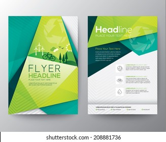 Abstract Triangle Brochure Flyer design vector template in A4 size