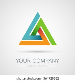 Abstract triangle company logo. Colorful delta vector design template icon.
