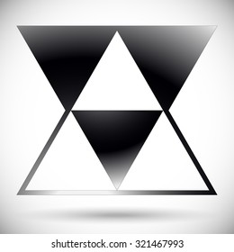Abstract triangle form. Overlapping, intersecting triangles. Pointed, triangular element, shape. Monochrome, black and white graphics