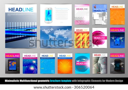 abstract triangle geometric brochure template flyer stock vector