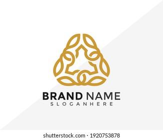 Abstract Triangle Leaf Luxury Logo Design. Creative Idea logos designs Vector illustration template