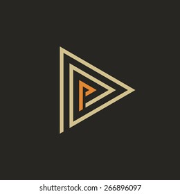 Abstract triangle logo template with P-letter. Isolated on black background. Vector illustration, eps 8.