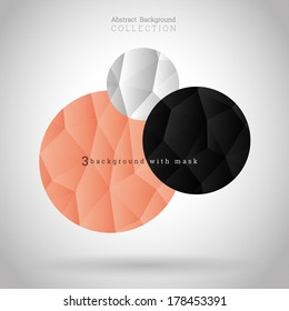 Abstract triangle paper design vector background collection - black, white, peach color version