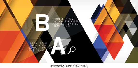 Abstract triangle pattern, colorful backdrop. Presentation template. Modern textured shape. Trendy modern style. Vector abstract geometric graphic design.