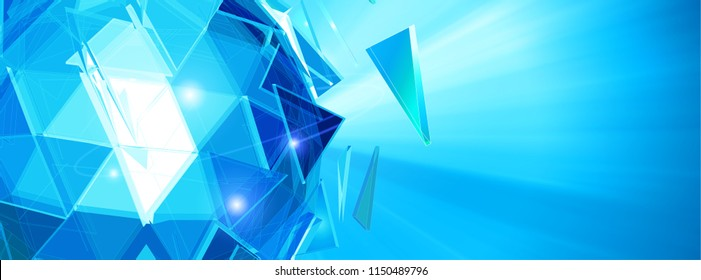 Abstract triangle polygonal crystal glass shatter sphere glowing on blue shining background with blank space for banner futuristic concept