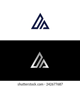Abstract triangle shape with letter D and letter A