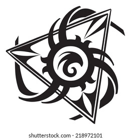 Abstract triangle tattoo design, vintage engraved illustration.